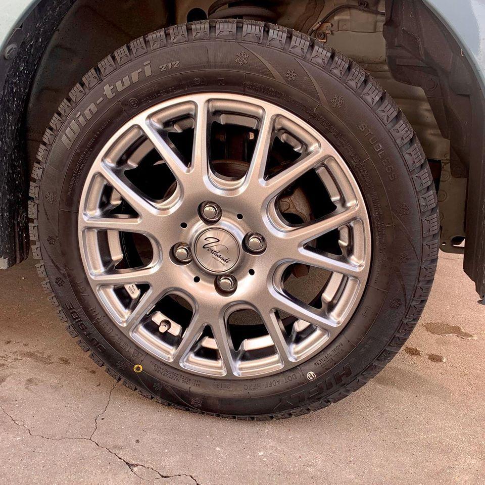 知立市、持ち込みタイヤ交換 出光 セルフ知立SS スズキ ワゴンR 155/65R14 4本5000円