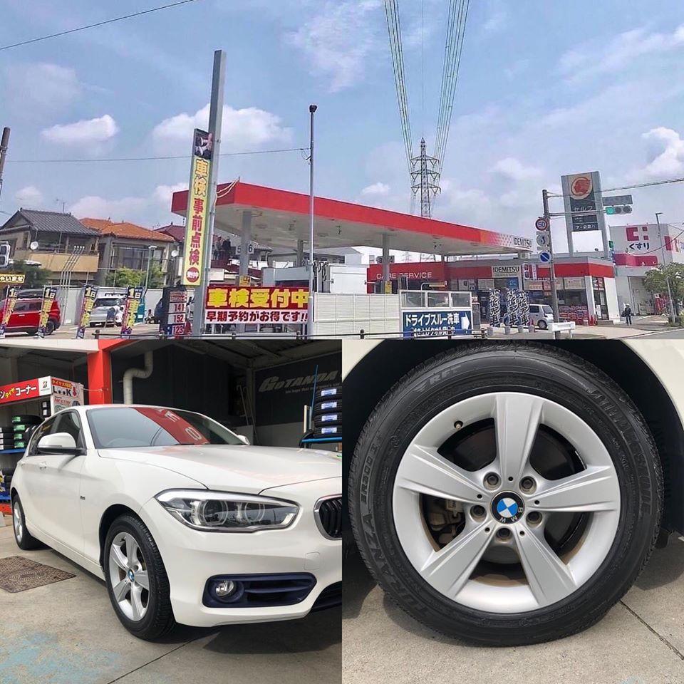 愛知県名古屋市、タイヤ持ち込み交換 出光 セリエ五反田SS BMW 118i  205/55R16  2本4000円